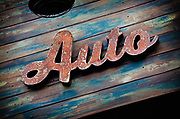 Image of a patina Auto sign in Orange County, California, America west coast