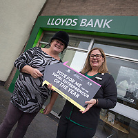 Picture shows Caroline Tomlinson who has been nominated for the Lloyds Bank Social Entrepreneur of the Year (SEYA).<br /> Caroline runs an Equestrian centre for disabled children in Standish in Lancashire<br /> She is pictured with Marcia Simpkin who works in the Standish Branch of Lloyds Bank