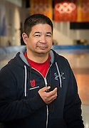 US Olympic Speed Skating Team Coach Ryan Shimabukuro at Utah Olympic Oval, Kearns, Utah.