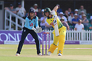 Meg Lanning of Australia (17) drives the ball during the Royal London Women's One Day International match between England Women Cricket and Australia at the Fischer County Ground, Grace Road, Leicester, United Kingdom on 4 July 2019.