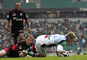 Twickenham, GREAT BRITAIN,  Quins, David STRETTLE, gets across the try line, breaking through, Chris JACKS tackle, to score the opening try in the first few minutes of the Guinness Premiership match,  Saracens vs Harlequins, at Twickenham Stadium, Surrey on Sat 06.09.2008. [Photo, Peter Spurrier/Intersport-images]