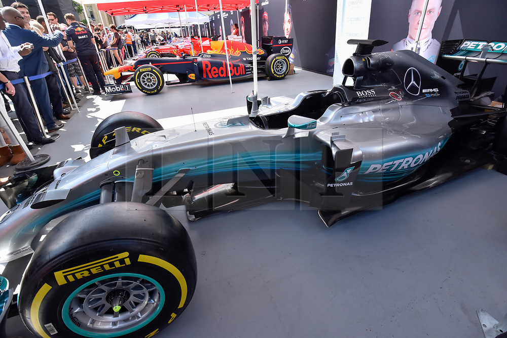 © Licensed to London News Pictures. 12/07/2017. London, UK. A Williams race car on display.  Formula One racing comes to Trafalgar Square and Whitehall for a promotional event called F1LiveLondon ahead of the British Grand Prix at Silverstone. Photo credit : Stephen Chung/LNP