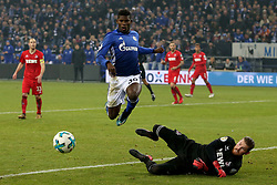 GELSENKIRCHEN, Dec. 20, 2017  Breel Embolo of Schalke 04 competes during the German DFB Pokal match between Schalke 04 and FC Koln at the Veltins Arena in Gelsenkirchen, Germany, on Dec. 19, 2017. (Credit Image: © Joachim Bywaletz/Xinhua via ZUMA Wire)