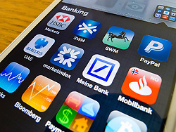 detail of iPhone 5 with many banking apps