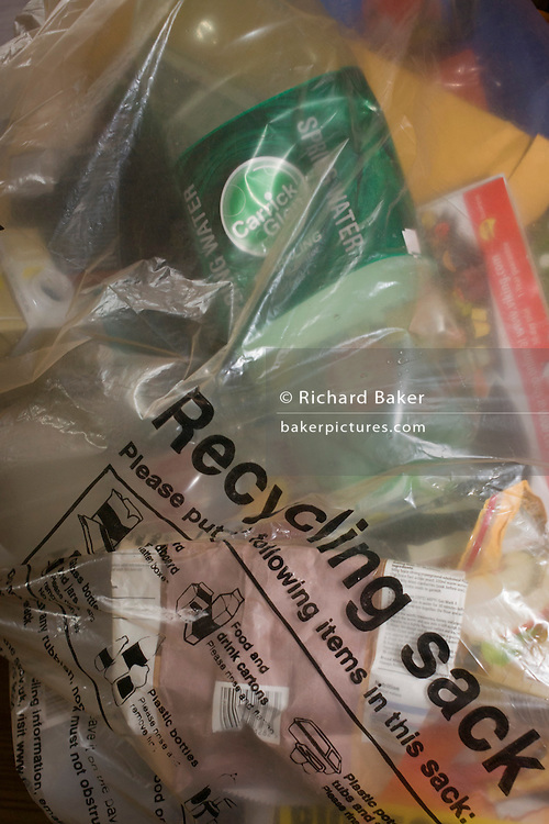 The contents of a transparent plastic recycling sack provided by Lambeth council.