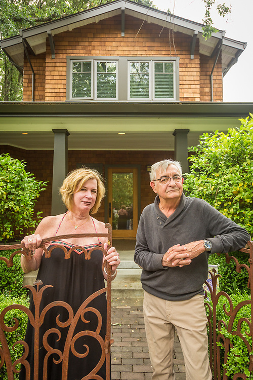 """I love Calistoga but Anne thinks it's a little slow...that's why we have a place in the city.""  -John and Anne Wack stand in front of their home on Washington Street."