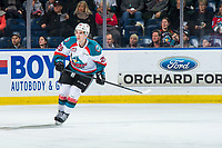 KELOWNA, BC - JANUARY 26:  Liam Kindree #26 of the Kelowna Rockets skates against the Vancouver Giants at Prospera Place on January 26, 2019 in Kelowna, Canada. (Photo by Marissa Baecker/Getty Images)
