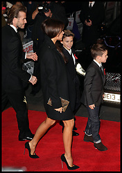 David and Victoria Beckham with their children arrive at the The Class of 92 premiere in London, Sunday, 1st December 2013. <br /> Picture by Stephen Lock / i-Images