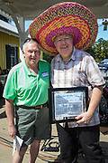 John Preble hams it up with the Mayor at the Water Fest while receiving his proclamation as Abita Springs Citizen of the Year.