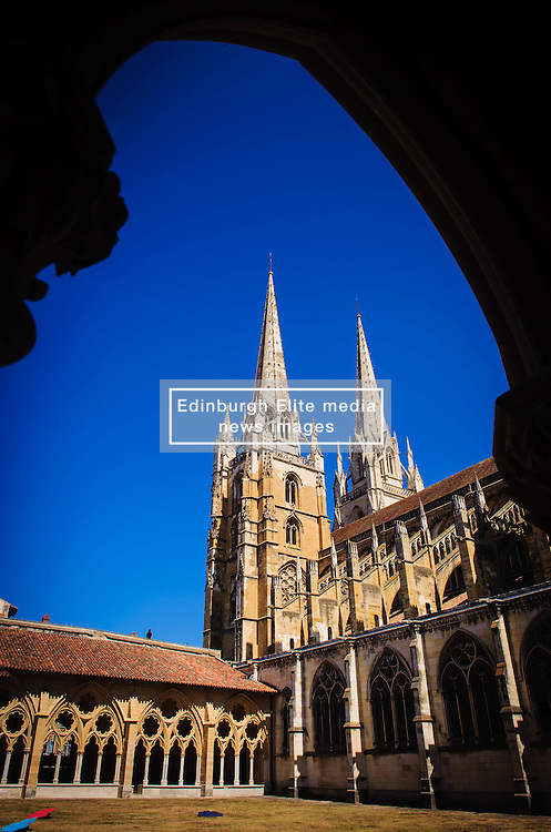 Cloisters and twin spires of Sainte-Marie Cathedral, Bayonne, France<br /> <br /> (c) Andrew Wilson | Edinburgh Elite media
