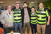 Players sponsorship Forest Green Rovers goalkeeper Sam Russell(23) during the EFL Sky Bet League 2 match between Forest Green Rovers and Crawley Town at the New Lawn, Forest Green, United Kingdom on 24 February 2018. Picture by Shane Healey.