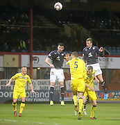 Iain Davidson heads the only goal of the game to give Dundee three vital points - Dundee  v Queen of the South - SPFL Championship at Dens Park<br /> <br />  - &copy; David Young - www.davidyoungphoto.co.uk - email: davidyoungphoto@gmail.com