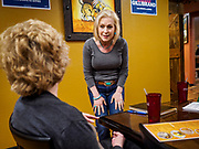 19 APRIL 2019 - HARLAN, IOWA: US Senator KIRSTEN GILLIBRAND talks to a group of Iowa voters in a Mexican restaurant during a campaign event Harlan, Iowa. Gillibrand is campaigning in western Iowa Friday to support her candidacy to be the Democratic nominee for the US presidency in the 2020 election. Iowa traditionally hosts the the first selection event of the presidential election cycle. The Iowa Caucuses will be on Feb. 3, 2020.                PHOTO BY JACK KURTZ
