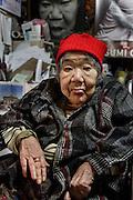 Kawasaki, November 21 2014 - Japanese artist Tatsumi ORIMOTO's 97-year-old mother at home.
