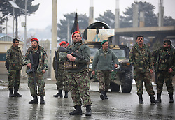 KABUL, Jan. 29, 2018  Afghan army soldiers stand outside Marshal Fahim National Defense University after attack in Kabul, Afghanistan, Jan. 29, 2018. Militants' attack on a Afghan military base in the western edge of Kabul city was over, leaving five people including two security personnel and three attackers dead and 10 more security personnel injured on Monday, said a statement from the Afghan Defense Ministry.  psw) (Credit Image: © Rahmat Alizadah/Xinhua via ZUMA Wire)