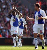 Photo: Paul Thomas.<br /> Liverpool v Blackburn Rovers. The Barclays Premiership. 14/10/2006.<br /> <br /> Benni McCarthy (10) of Blackburn celebrates his goal.