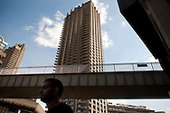 UK. London. The Barbican Centre, a collection of residential apartments, galleries, concert halls and cinemas. The Barbican Gallery is holding a Le Corbusier exhibition..Photo shows the exterior of the Barbican Centre..Photos ©Steve Forrest