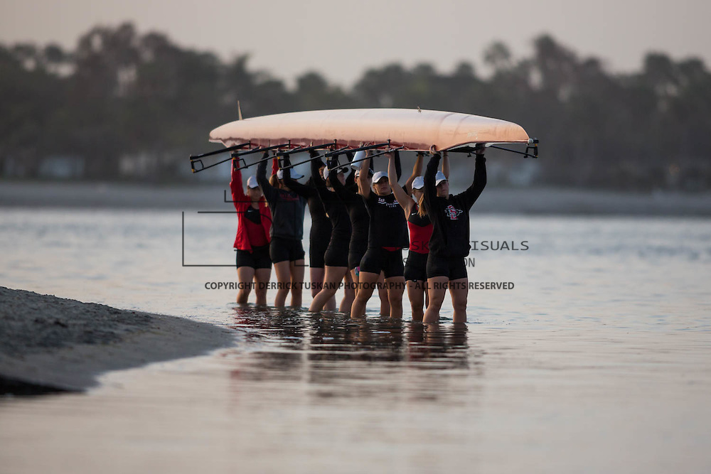15 April 2016: The San Diego State Aztecs women's crew team took on UCSD Friday morning  on Mission Bay.