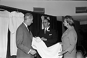 "05/06/1964<br /> 06/05/1964<br /> 05 June 1964<br /> Clothing Institute Conference at Jury's Hotel, Dublin. Picture shows (l-r): Mr. J. Moncrieff, J.P., F.C.I., Walter Moncrieff Ltd. and Vice-Chairman of the Clothing Institute Council; Mr. T.A. Rose, General Manager Mayfair Manufacturing Co. Ltd., who presented a paper on ""Design Engineering"" and Miss E. Shrives, Director, Berlei (UK) Ltd. and Vice-President of the Clothing Institute."