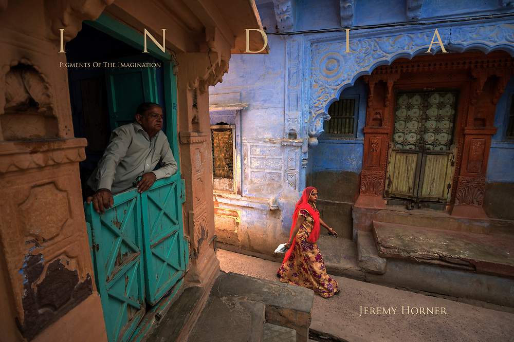 """The """"Blue City"""" of Jodhpur, Rajasthan. The narrow streets are painted blue, some say to ward off mosquitos and keep the air cool."""