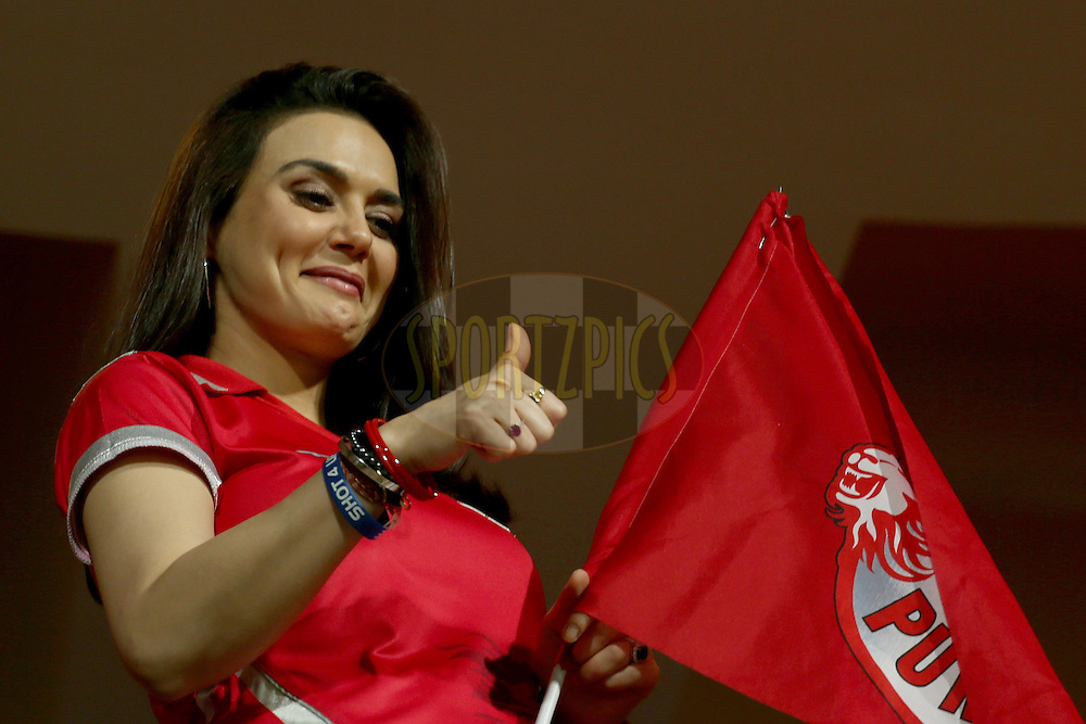 Preity Zinta supporting her team during match 31 of the Pepsi Indian Premier League Season 2014 between the Royal Challengers Bangalore and the Kings XI Punjab held at the M. Chinnaswamy Stadium, Bangalore, India on the 9th May  2014. Photo by Jacques Rossouw  / IPL / SPORTZPICS<br /> <br /> <br /> <br /> Image use subject to terms and conditions which can be found here:  http://sportzpics.photoshelter.com/gallery/Pepsi-IPL-Image-terms-and-conditions/G00004VW1IVJ.gB0/C0000TScjhBM6ikg