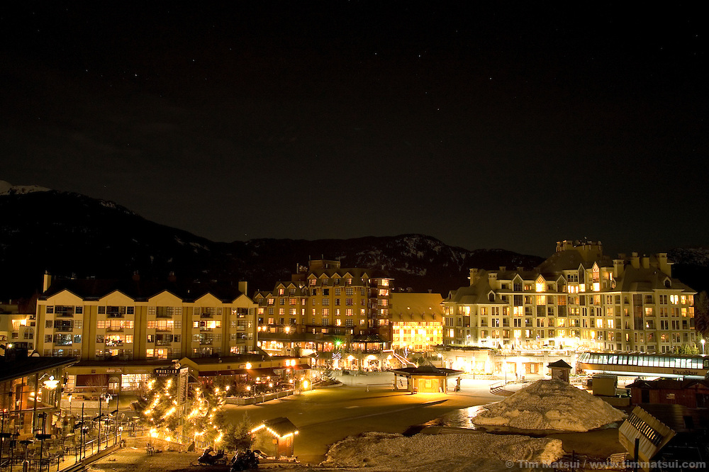 Night at Whistler-Blackcomb ski resort in British Columbia, Canada.