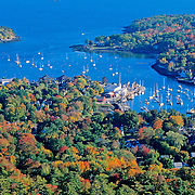 Camden Harbor in the autumn from Mount Battie. Camden, Maine