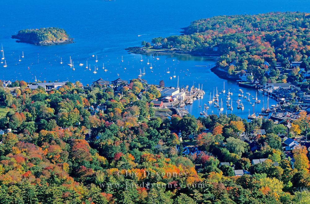 Camden Harbor in the autumn from Mount Battie. Camden, Maine