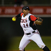15 February 2018: The San Diego State softball team hosts #25 Kentucky to open up the 28th annual Campbell/Cartier Classic. San Diego State third baseman Iesha Hill (24) fields a ground ball and throws to first base in the top of the third inning. The Aztecs lost to the Wildcats 5-0.<br /> More game action at www.sdsuaztecphotos.com
