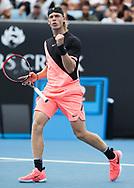 DENIS SHAPOVALOV (CAN) macht die Faust und  jubelt , Jubel,Freude,Emotion,<br /> <br /> <br /> Tennis - Australian Open 2018 - Grand Slam / ATP / WTA -  Melbourne  Park - Melbourne - Victoria - Australia  - 15 January 2018.