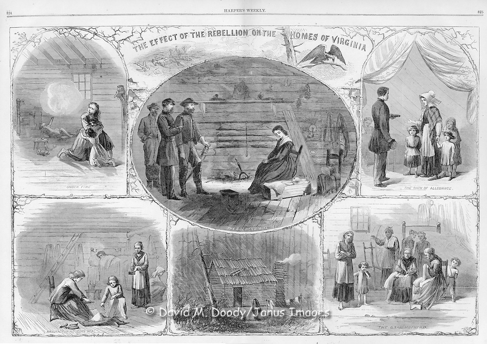 "Double page spread  ""the Effects of the War in the Homes of Virginia on Civilians""  Civil War.  Illustration from Harper's Weekly December, 1864"