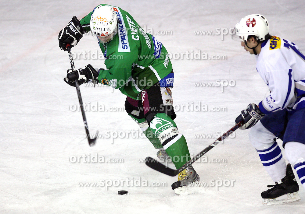 Igor Cvetek of Olimpija at 3rd round of Slovenian Ice-Hockey National Championships semi-final match between HD Tilia Olimpija, Ljubljana and Medvescak Zagreb, Croatia, on March 11, 2009, in Hala Tivoli, Ljubljana, Slovenia. (Photo by Vid Ponikvar / Sportida)