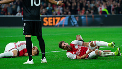 13-08-2019 NED: UEFA Champions League AFC Ajax - Paok Saloniki, Amsterdam<br />  Ajax won 3-2 and they will meet APOEL in the battle for a group stage spot / Klaas Jan Huntelaar #9 of Ajax, Nicolás Tagliafico #31 of Ajax