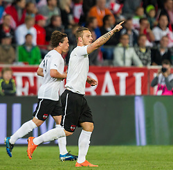 01.06.2012, Tivoli, Innsbruck, AUT, UEFA EURO 2012, Testspiel, Oesterreich vs Ukraine, im Bild Torjubel Oesterreich nach einem Tor von Marko Arnautovic, (AUT, #07) // Goal Celebration Austria after Marko Arnautovic, (AUT, #07) scores  during Preparation Game for the UEFA Euro 2012 betweeen Austria and Ukraine at the at the Tivoli Stadium, Innsbruck, Austria on 2012/06/01. EXPA Pictures © 2012, PhotoCredit: EXPA/ Juergen Feichter