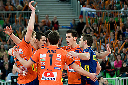 Team ACH Volley celebrate during volleyball match between ACH Volley (SLO) and Zenit Kazan (RUS) in Playoffs 12 Round of 2011 CEV Champions League, on February 2, 2011 in Arena Stozice, Ljubljana, Slovenia. (Photo By Matic Klansek Velej / Sportida.com)