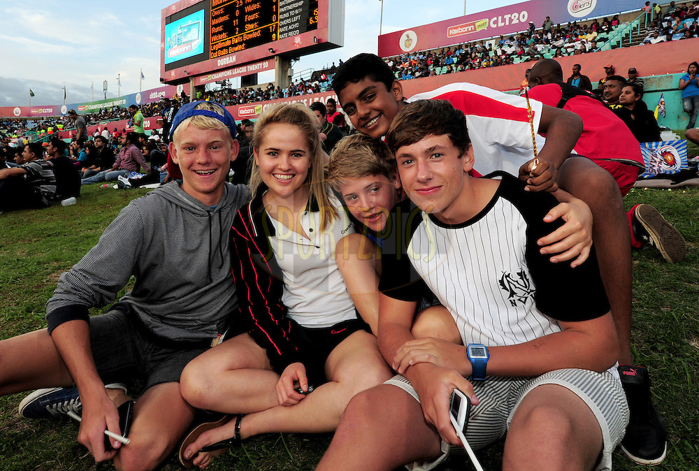Friends during match 18 of the Karbonn Smart CLT20 South Africa between The Sydney Sixers and The Mumbai Indians held at Kingsmead Park in Durban, South Africa on the 22nd October 2012..Photo by Gerhard Duraan/SPORTZPICS/CLT20
