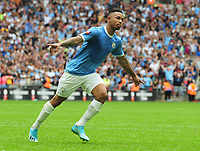 Football - 2019 FA Community Shield - Liverpool vs. Manchester City<br /> <br /> Jesus of Man City celebrates scoring the winning goal in the penalty Shoot out, at Wembley Stadium.<br /> <br /> COLORSPORT/ANDREW COWIE