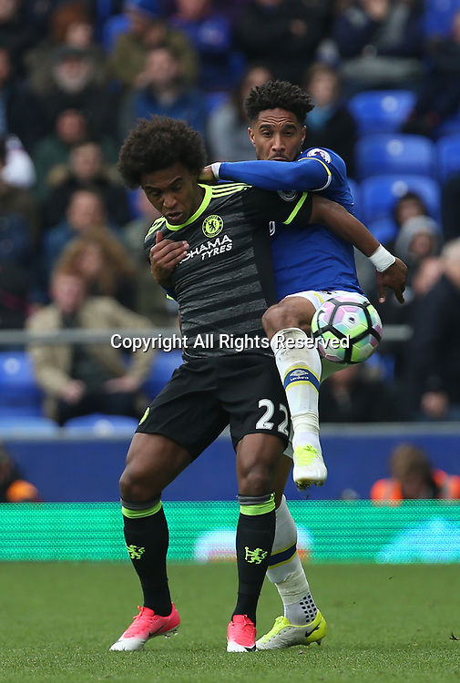April 30th 2017, Goodison Park, Liverpool, England; EPL Premier league football, Everton versus Chelsea; Ashley Williams of Everton tussles with wil22