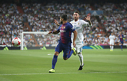 August 16, 2017 - Madrid, Spain - Luis Suarez and Sergio Ramos. Real Madrid defeated Barcelona 2-0 in the second leg of the Spanish Supercup football match at the Santiago Bernabeu stadium in Madrid, on August 16, 2017. (Credit Image: © Antonio Pozo/VW Pics via ZUMA Wire)