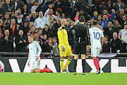 England striker Jamie Vardy (09) winning a penalty during the Friendly match between England and Spain at Wembley Stadium, London, England on 15 November 2016. Photo by Matthew Redman.