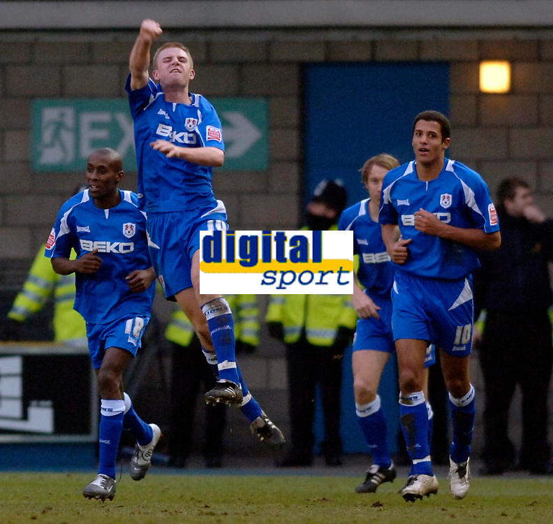 Photo: Daniel Hambury.<br />Millwall v Sheffield Wednesday. Coca Cola Championship. 04/02/2006.<br />Millwall's Tony Craig celebrates what he thinks is a goal. However referee Steve Tanner after at first appearing to give the goal moments later ruled it out.