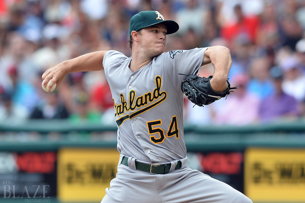 Jul 31, 2016; Cleveland, OH, USA; Oakland Athletics starting pitcher Sonny Gray (54) throws a pitch against the Cleveland Indians during the first inning at Progressive Field. Mandatory Credit: Ken Blaze-USA TODAY Sports