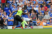 Brighton midfielder, winger, Kazenga LuaLua shoots during the Sky Bet Championship match between Ipswich Town and Brighton and Hove Albion at Portman Road, Ipswich, England on 29 August 2015.