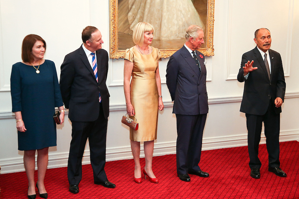 Governor-General Sir Jerry Mateparae speaks while from left, Bronagh Key, Prime Minister John Key, Lady Janine Mateparae and Prince Charles, Prince of Wales, look on during a State Reception at Government House, Wellington, New Zealand, Wednesday, November 04, 2015. Credit:SNPA / Getty, Hagen Hopkins **POOL**