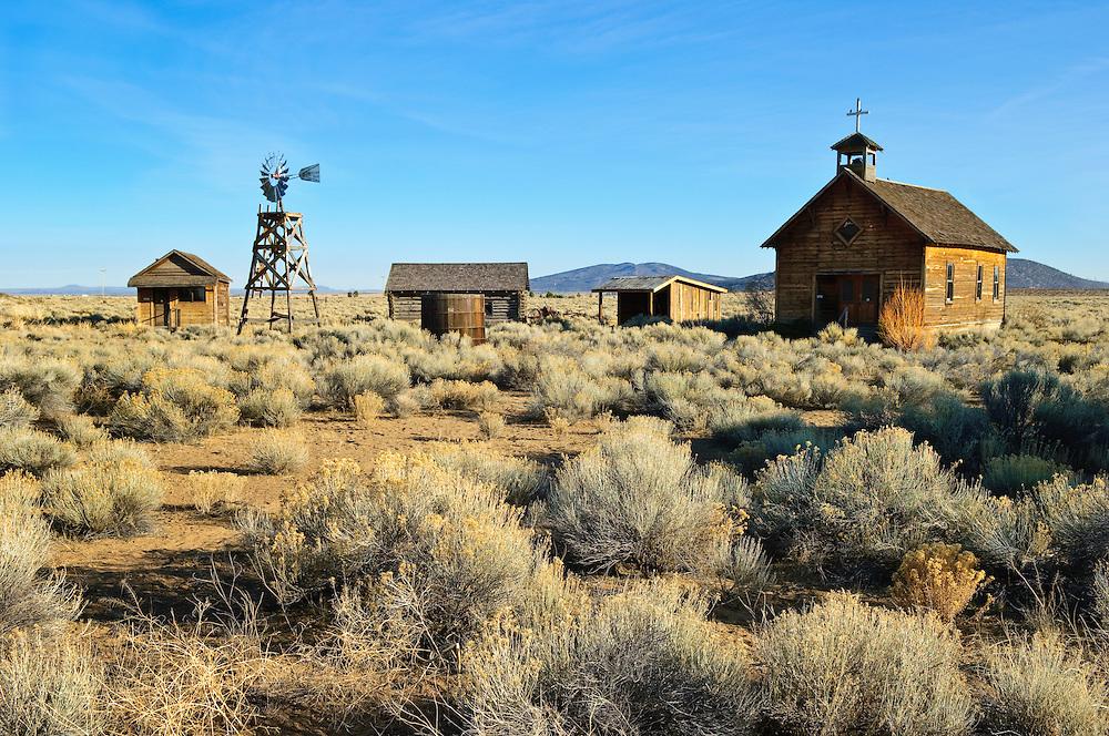 Fort Rock Homestead Village with historic pioneer buildings; Fort Rock, Oregon.