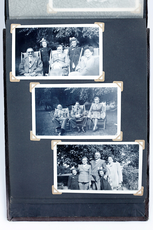 happy family gathering moments photo album page 1950s England