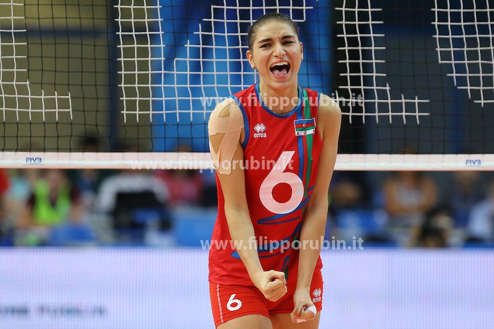 Azerbaijan Ayshan Abdulazimova celebrates