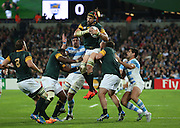 South Africa's Captain Victor Matfield winning another lineout during the Rugby World Cup Bronze Final match between South Africa and Argentina at the Queen Elizabeth II Olympic Park, London, United Kingdom on 30 October 2015. Photo by Matthew Redman.