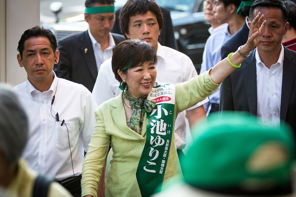 TOKYO, JAPAN - JULY 29 : Candidate Yuriko Koike, a Liberal Democratic Party lawmaker and former defense minister greets people during the Tokyo Gubernatorial Election 2016 campaign rally outside of Korakuen station, Tokyo, Japan on Friday, July 29, 2016. Tokyo residents will vote on July 31 for a new Governor of Tokyo who will deal with issues related to the hosting of the Tokyo Summer Olympics and Paralympics in 2020.  (Photo: Richard Atrero de Guzman/NURPhoto)