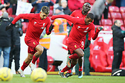 Liverpool forward Roberto Firmino (9) and Liverpool midfielder Georginio Wijnaldum (5) warming up during the Premier League match between Liverpool and Brighton and Hove Albion at Anfield, Liverpool, England on 30 November 2019.